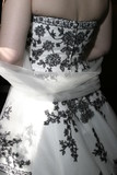 black and white dress, back of wedding bride poster