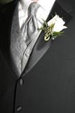 grooms tie, vest, suit, boutonniere poster