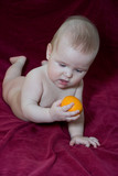 newborn baby and  fruit poster
