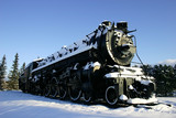 old locomotive in the snow poster