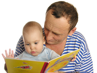 granddaughter read book with grandfather isolated