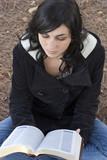 woman reading bible poster