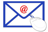 envelope with email symbol and computer mouse poster