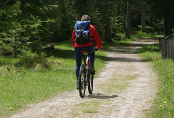 mountain path cyclist