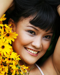 asian woman with flowers