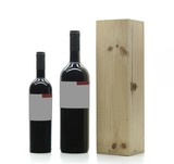 two bottles and wood box poster