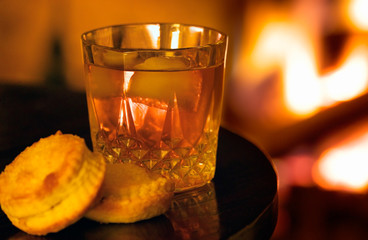 fireside drink with pastries