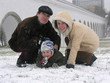 family of three. snow.