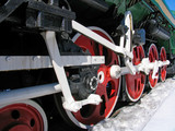 red wheels of old  locomotive poster