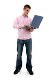 attractive teen boy with laptop poster