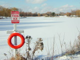 thin ice sign poster