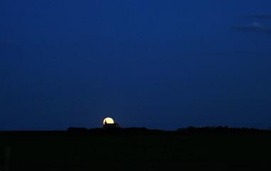 prairie church at night