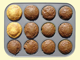 tray with hot muffins poster