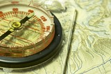compass and old map poster