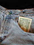 dollar bill in front pocket of jeans poster