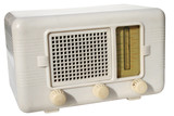 white retro radio poster