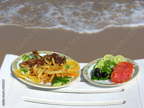 food on the beach