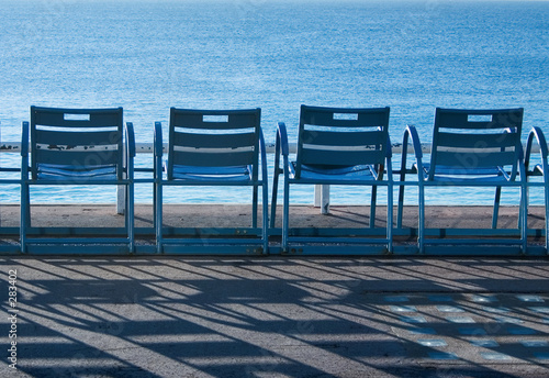 blue chairs in nice, france - 283402