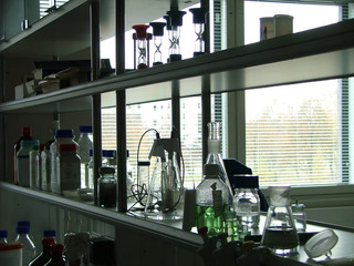 laboratory's shelves