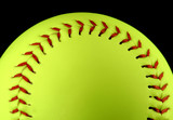 yellow softball, centered poster
