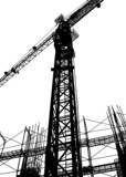 construction site silhouette poster