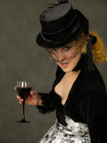 lady with glass of wine poster