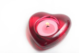 red heart candle with flame poster