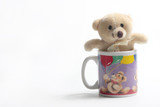 teddy bear in small coffee cup poster