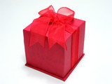 gift box in red, isolated poster