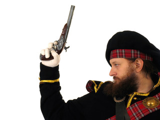scottish warrior with pistol