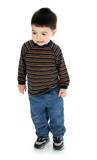 adorable toddler in long sleeve and jeans poster