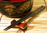 wooden bowl and chopsticks poster