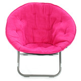 hot pink chair over white poster