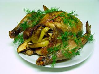 chicken on white plate