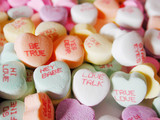 candy hearts with love sayings on them poster