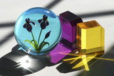 glass cubes and paperweight poster