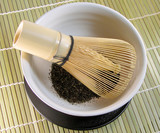 tea bowl and traditional bamboo whisk poster