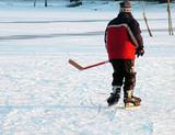 hockey on a lake poster