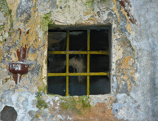 old barred window