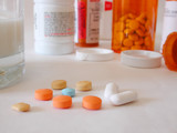 taking prescription pill with milk poster