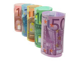 euro notes in a row poster