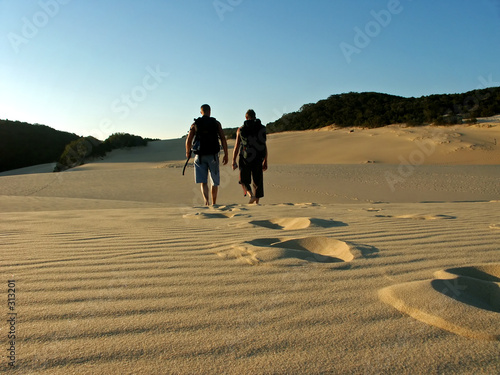 father and son hiking fraser island