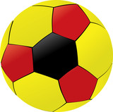 yellow, black and red soccer ball illustration poster