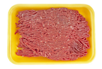 ground beef in tray