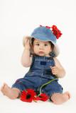 toddler in denim poster
