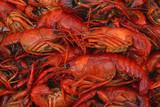 boiled crawfish closeup in pot poster