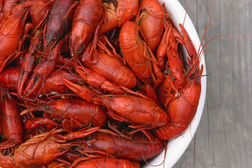 bowl of fresh boiled crawfish from above