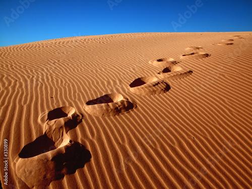 Leinwandbild Motiv footprints going over the sand.