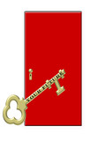 gold key to your future with red door illustration poster