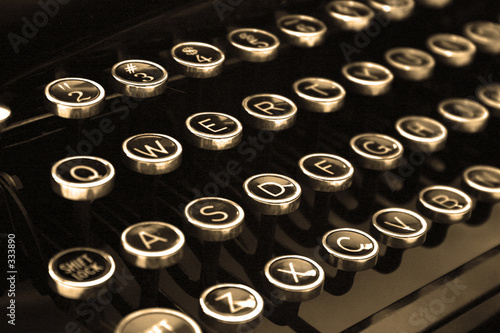 Wall mural typewriter keys in sepia